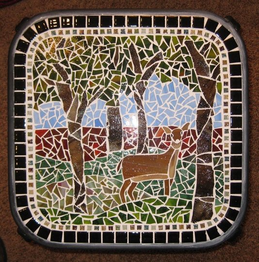 Woods with deer Mosaic Table, 12-09