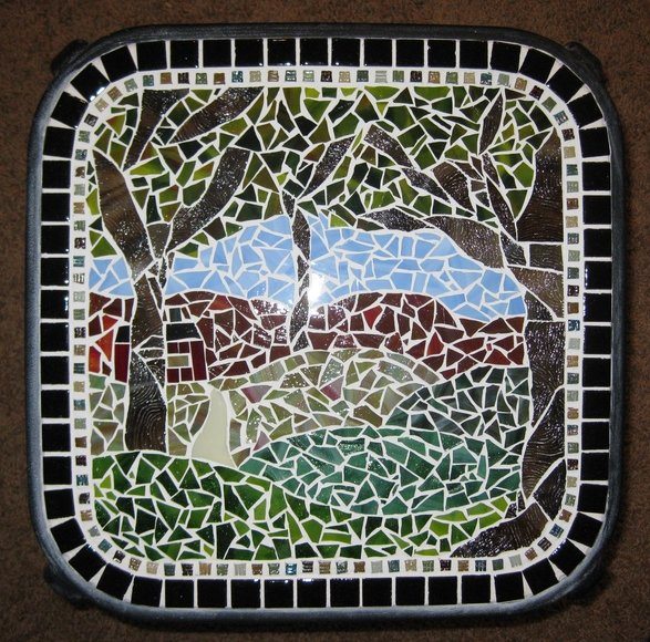 Woods with cottage Mosaic Table, 12-09